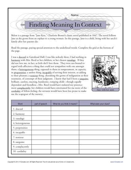 finding meaning in context teacher ideas school worksheets reading comprehension activities. Black Bedroom Furniture Sets. Home Design Ideas