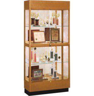 Heritage Oak 2 Tier Trophy Cabinet Mirror 36 Wx70 H The Display Is A Most Por That Will Stand Test Of Time