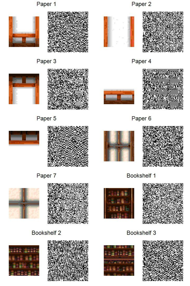 ACNL QR Code Paper Walls Bookshelves If Too Small Use Download Link At Right Of The Page For Full Resolution