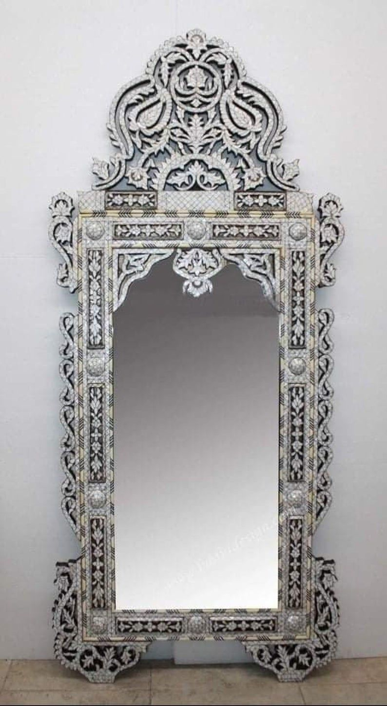 Vintage Mother Of Pearl Inlaid Entrance Mirror Frame Mother Of Pearl Mirror Moroccan Mirror Mirror Frames Mother of pearl wall mirror