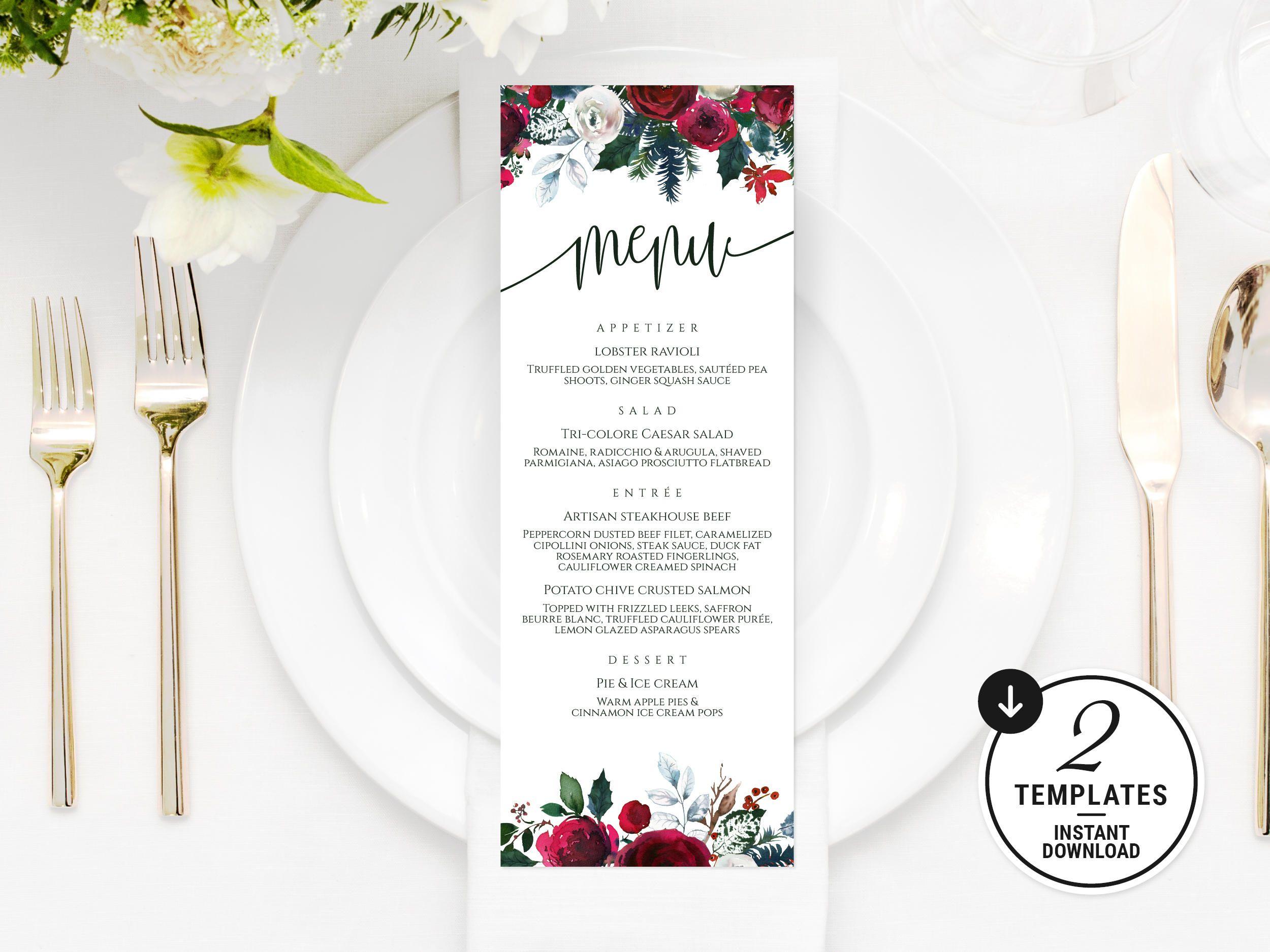 Printable Wedding Menu Winter Wedding Menu Christmas Dinner Etsy Printable Wedding Menu Wedding Menu Template Menu Cards