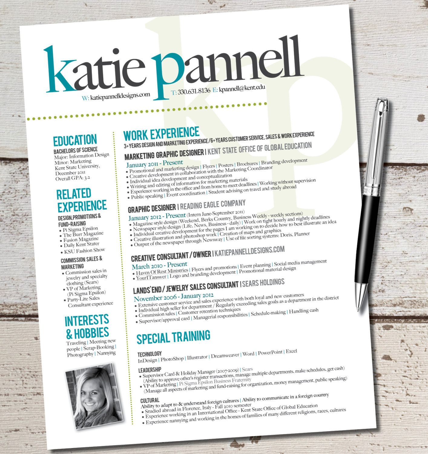 resume Graphic Resumes Templates the katie lyn signature resume template design by vivifycreative 64 00