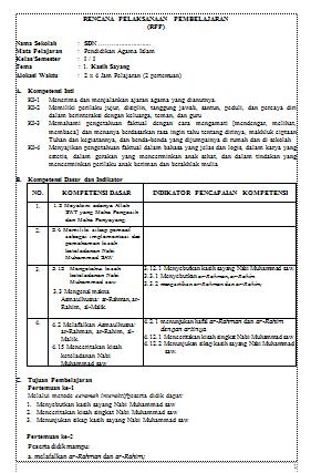 Pin Di Download Rpp Pai Kelas 1 6 Sd Mi Kurikulum 2013