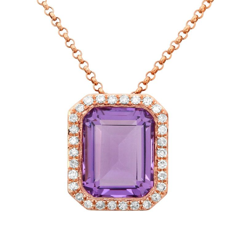 3.00 Carat Emerald Amethyst & Diamond Halo Pendant Necklace 14k Rose Gold, Anniversary Gifts, Jewelry for Women, Christmas Gifts, Birthday Jewelry Gifts, Pendant Designs, Raven Fine Jewelers