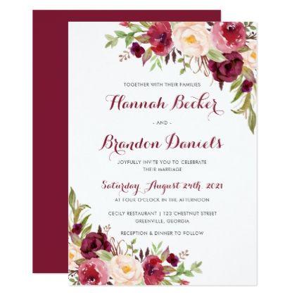 Floral Berry Burgundy Wedding Invitation   Wedding Invitations Diy Cyo  Special Idea Personalize Card