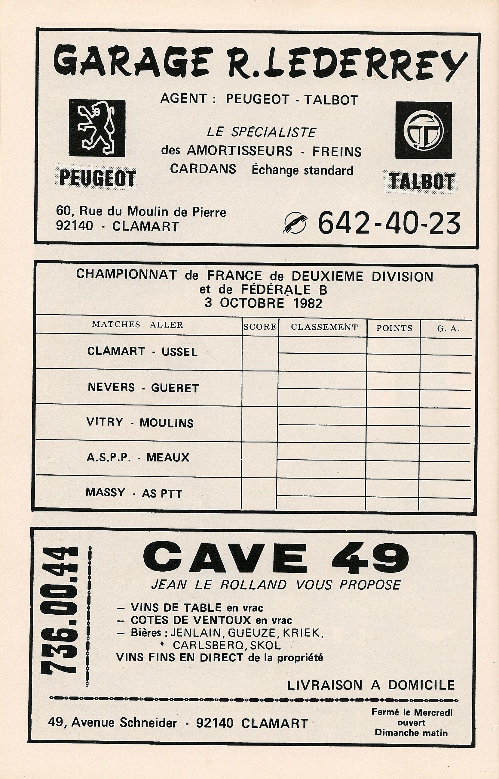 Calendrier 1982-1983 - 2ème Division - Page 12