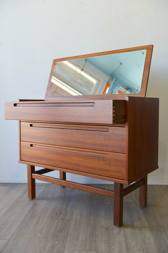 Danish Modern Teak Vanity or Dresser by Nils Jonsson Mid Century
