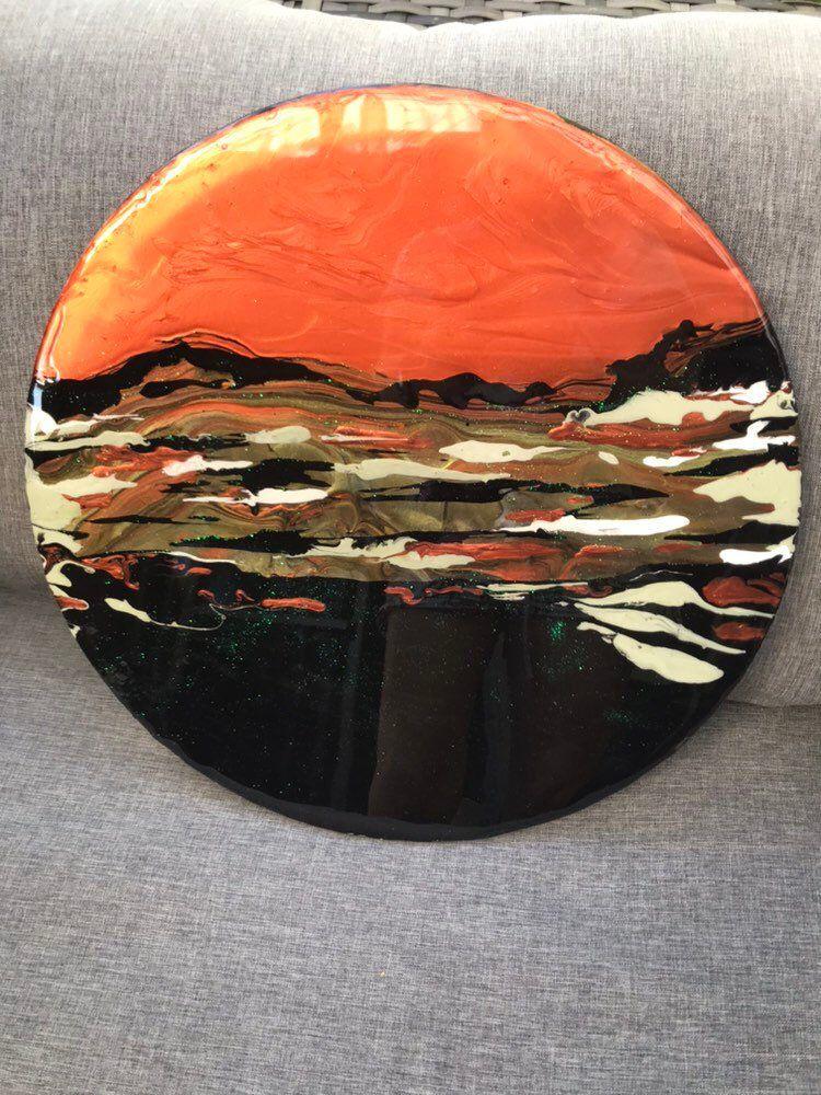 Australian outback fluid acrylic canvas with resin 40cm
