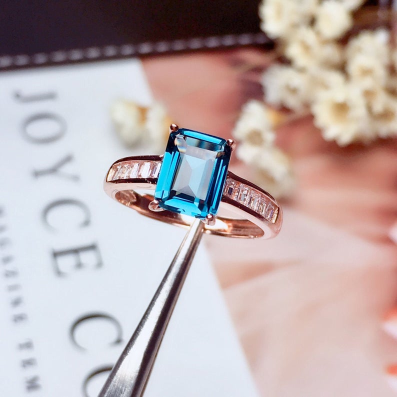 Gift For Her Natural London Blue Topaz Women/'s Ring in 18K Gold Plated Jewelry Ring AAA Quality Gemstone Stylish Ring Engagement Ring
