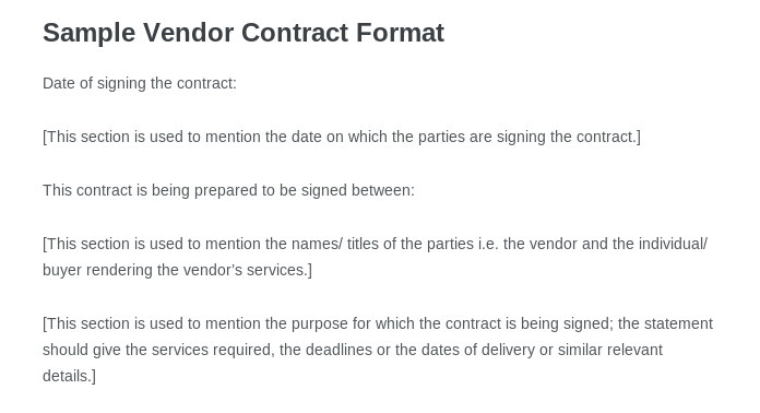 Sample Vendor Contract Format Read More  HttpWww