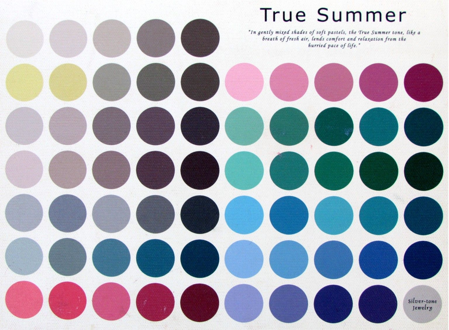 The True Summer Color Palette~ colors may vary slightly from the original  due to the translation from the canvas to your computer screen.