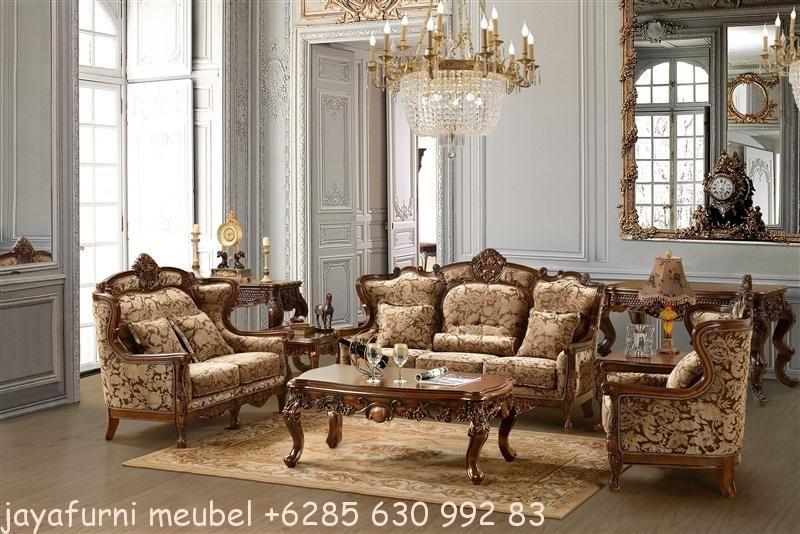 Set Ruang Tamu Klasik Ukir Kayu Jati Merupakan Kursi Sofa Mewah Dengan Bahan Full