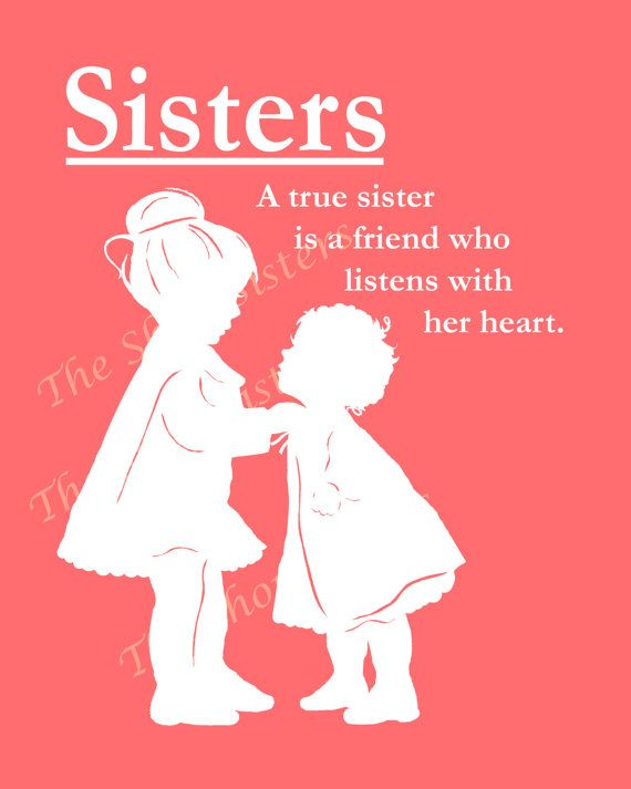 Sisters Poem wall art print Silhouette Pink and White 8 x ...