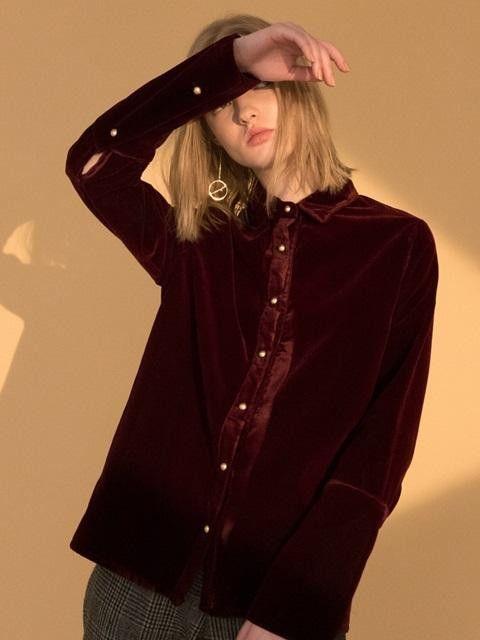 LARTIGENT Velvet Shirt Wine #velvet #buttondown #wine
