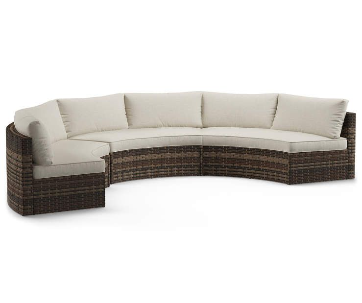 Wilson Fisher Manhattan All Weather Wicker Cushioned Curved Sofa 3 Piece Set At Big Lots Patio Furniture Collection Curved Sofa Rocker Chairs