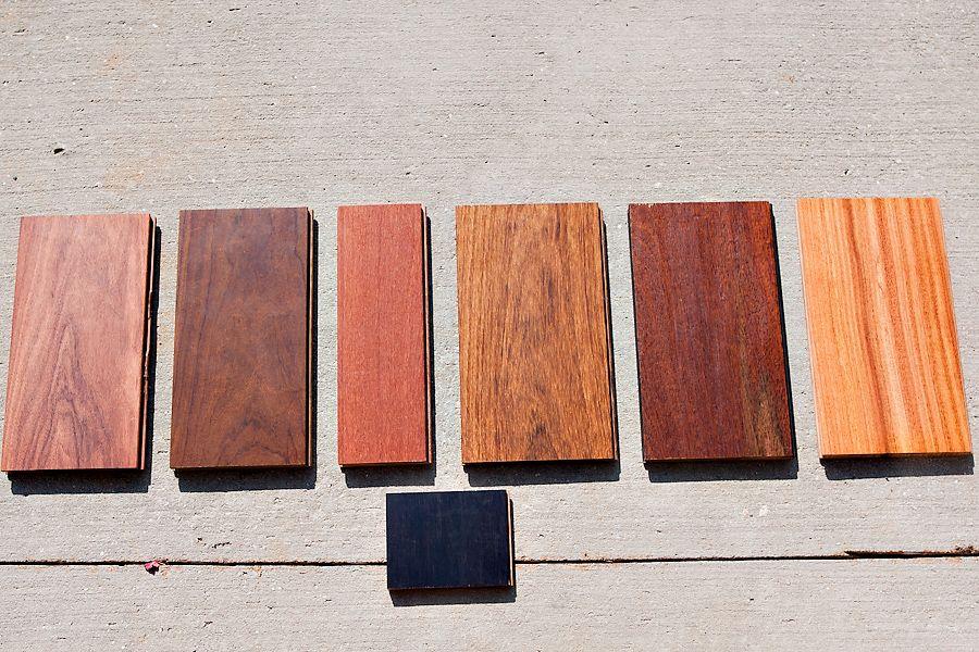 Wood Floor Samples From Left To Right Angico Vermelho Brazilian Walnut Ipe Lapacho Brazilian Teak Cumaru Tiete Ches Wood Parquet Wood Tile Flooring