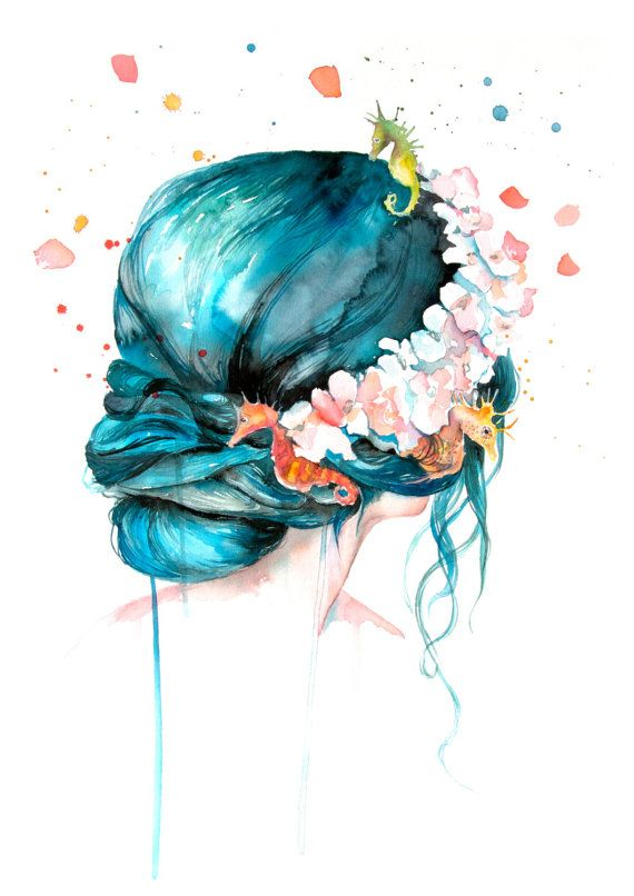 Mermaid Hair Watercolor Print Mermaid Print Watercolor Prints