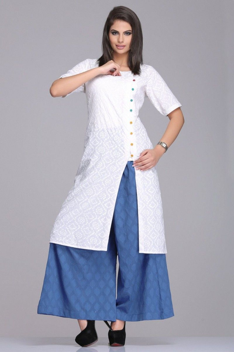 8d1001e63 SUBTLE SELF-PATTERNED BLUE COTTON JACQUARD PALAZZO PANTS Indo-western:  Farida Gupta