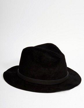 ef88f033 ASOS Fedora Hat In Black Faux Suede | Hat Game | Fedora hat, Hats, ASOS