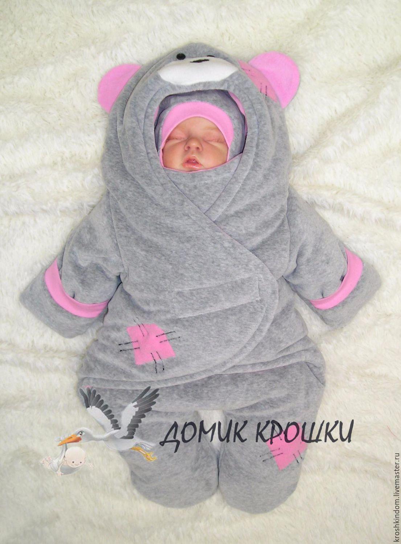 """Комбинезон-конверт для новорожденного """"Мишка Тедди"""" серый ..."""