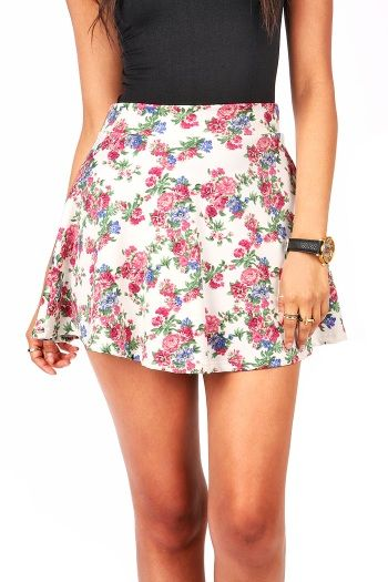 Rosey Skater Skirt | Floral Skirts at Pink Ice #skirts #skaterskirts #floralskirt #roseprint #pinkice