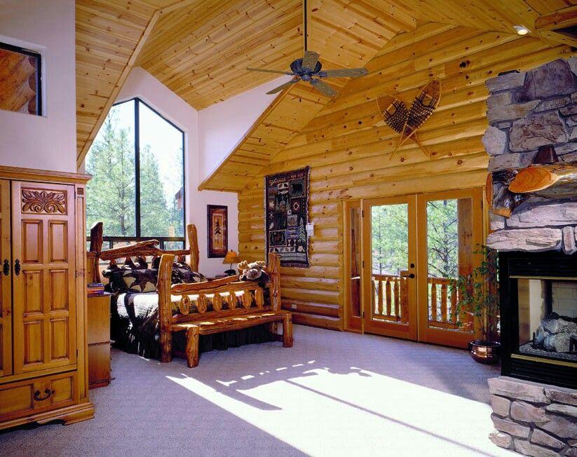 would love Log cabin bedrooms, Cabin loft, Log cabin