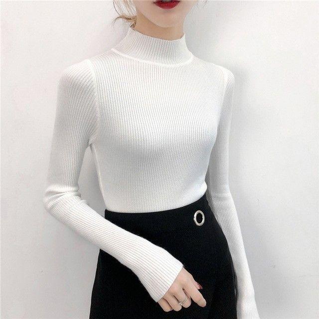 Winter Women/'s Half High Collar Zipper Slim Fit Knitted Bottomed Sweater