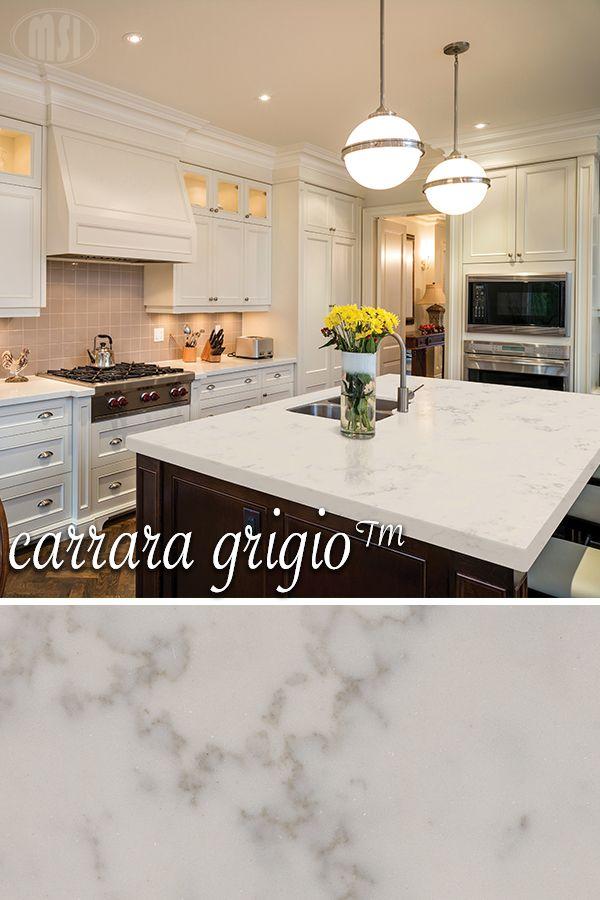 Carrara Grigio Quartz Slab Replacing Kitchen Countertops