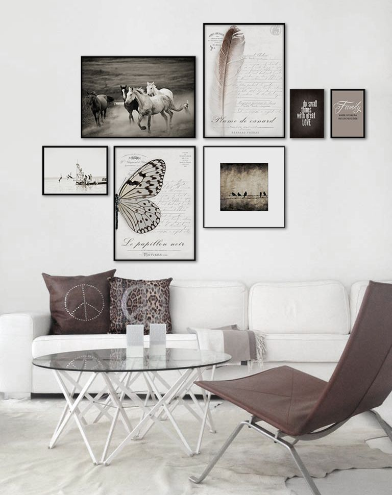 Framed art in sepia colors. Interior design. Art in livingroom. www ...