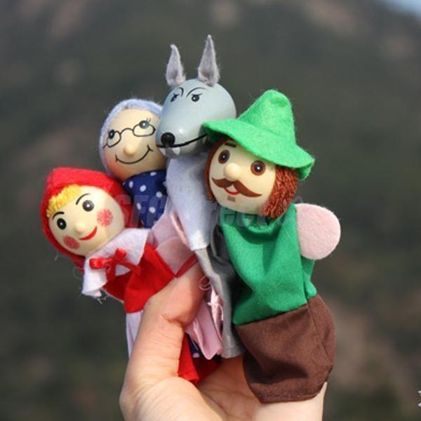 4 Marionnettes /à Doigts Le Petit Chaperon Rouge