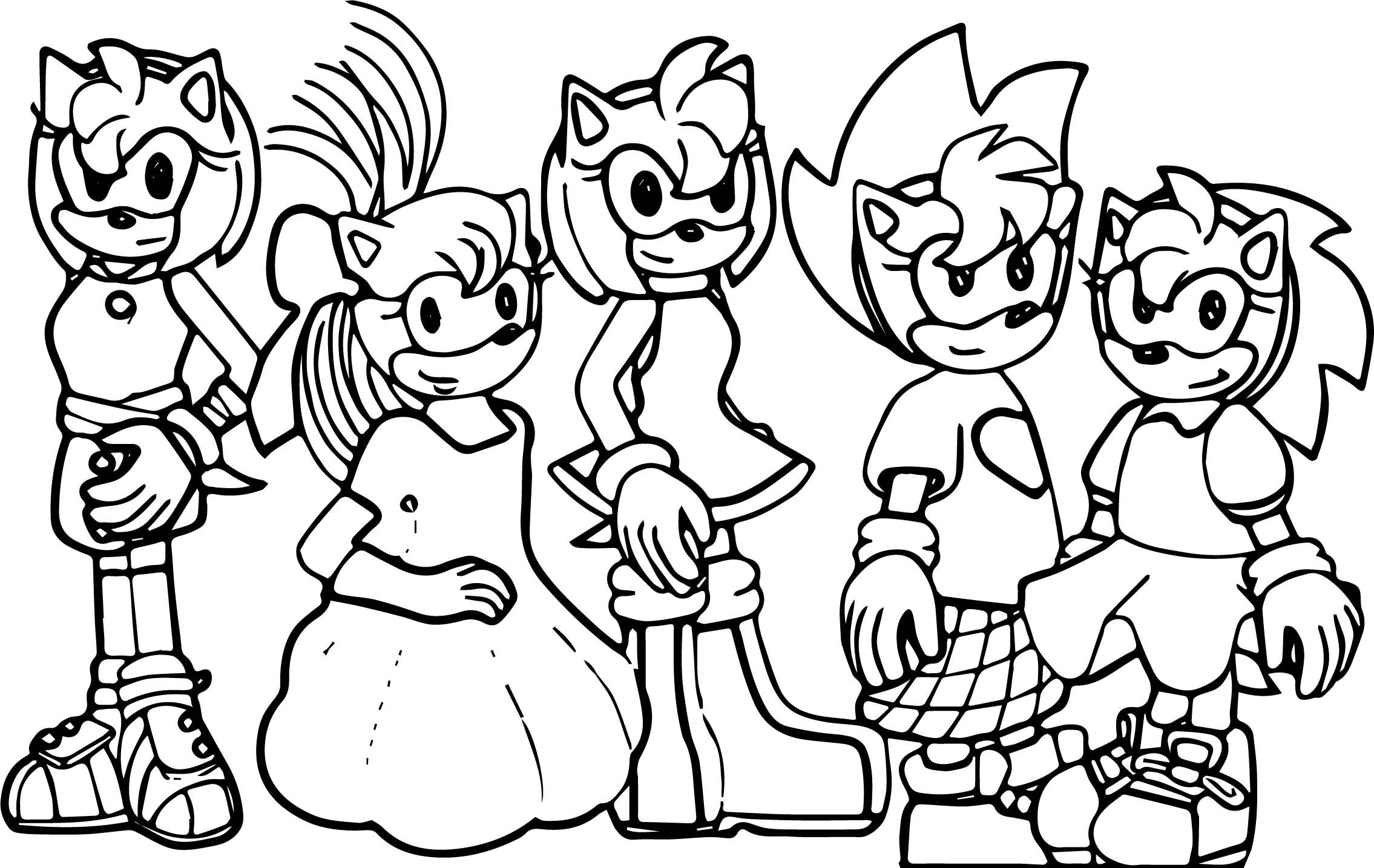 Awesome Amy Rose And Sonic Family Coloring Page Family Coloring
