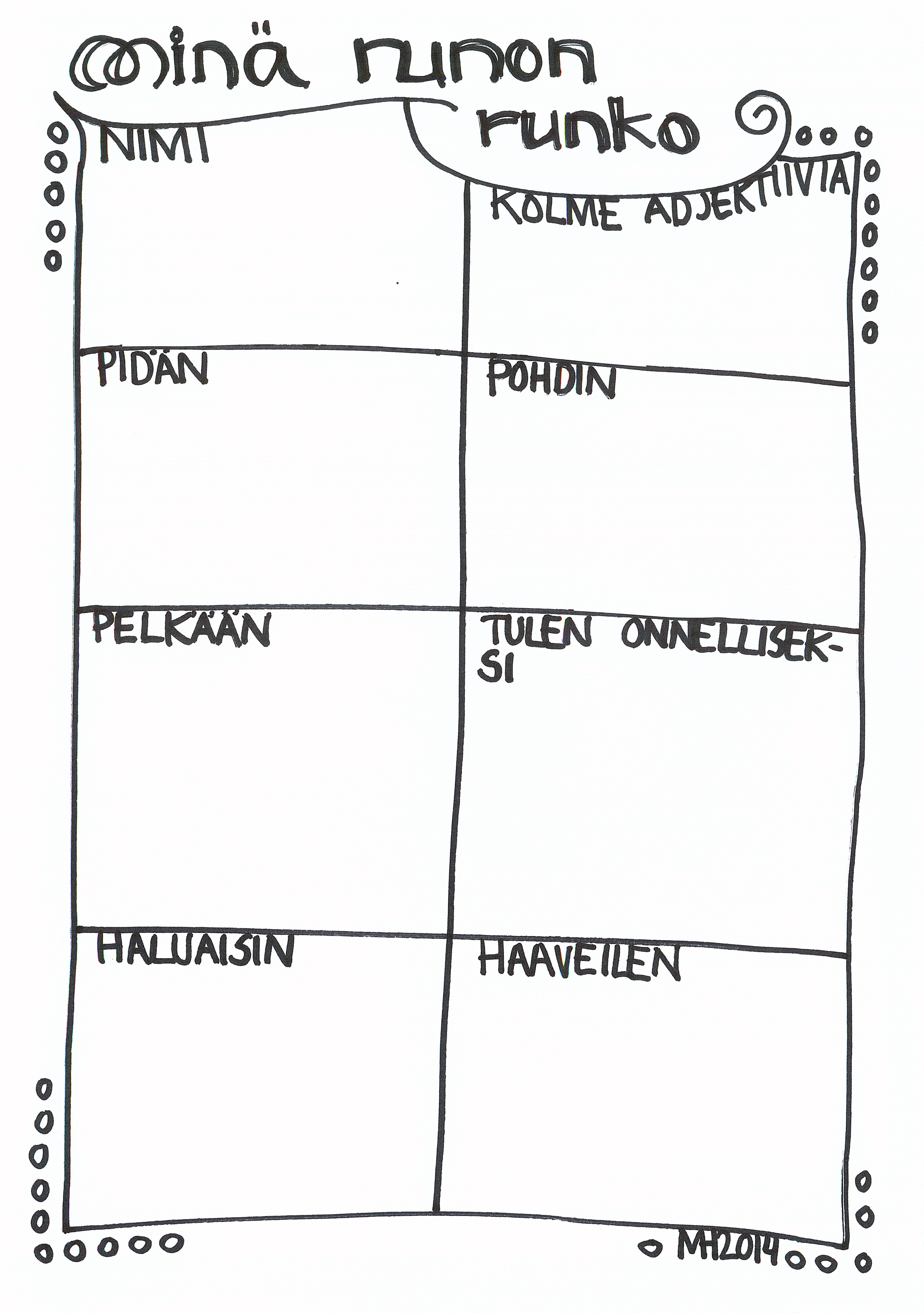 Minä-runon runko (oppilas vastaa laatikoihin, tämän jälkeen runon ...
