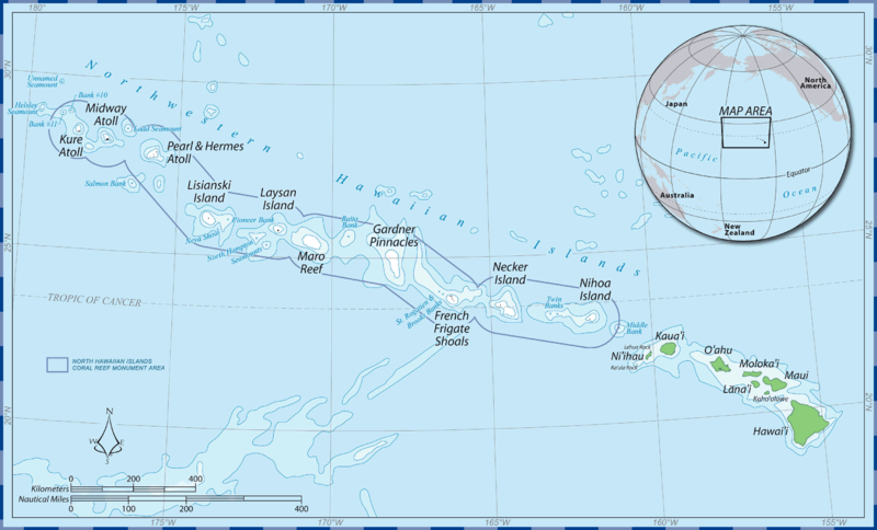 map of the papahanaumokuakea marine national monument in the northwest hawaiian islands includes the midway islands