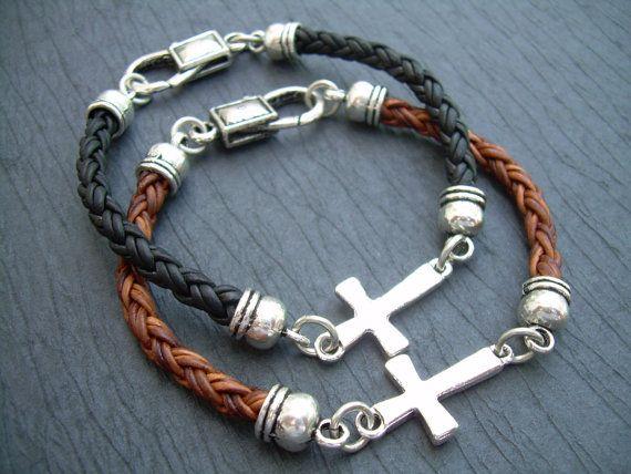 Leather Bracelet Cross Cross Bracelet Mens by UrbanSurvivalGearUSA, $22.00