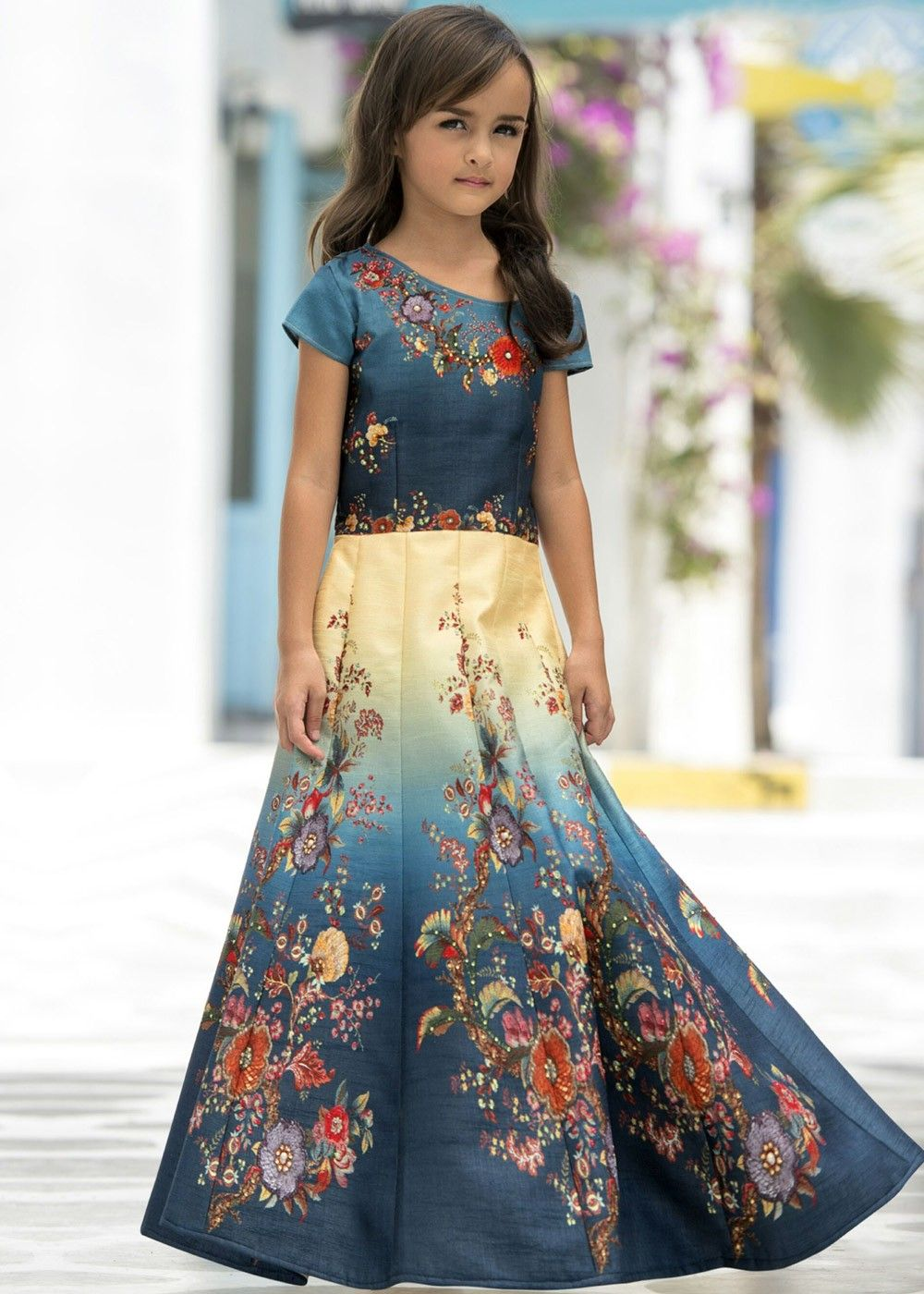 7767c5b93d Readymade #blue shaded #silk #gown for kids in all over #floral digital  print enhanced by stone work.