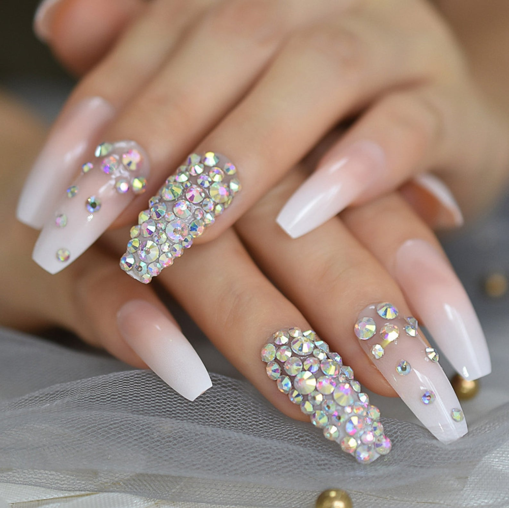 Fast Delivery Gorgeous 24 Pcs Rhinestone Fake Nails Coffin Etsy In 2020 Nails Design With Rhinestones Coffin Nails Long Coffin Nails Designs