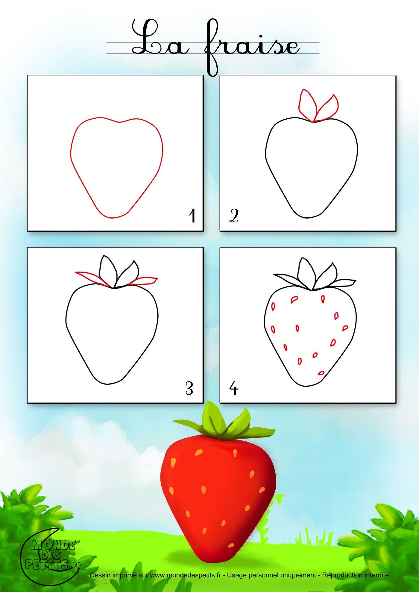 Www Mondedestitounis Fr Images Apprendre Dessiner Fruit Fraise Jpg Tegning Lær At Tegne Grafisk