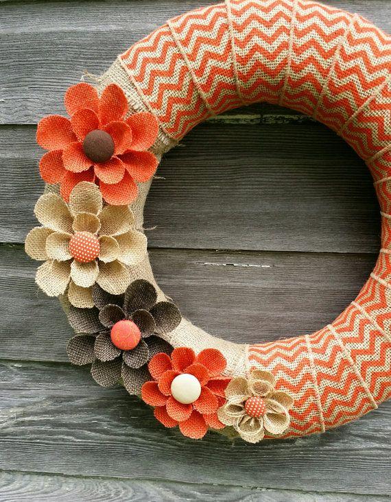 Photo of Orange Burlap Wreath, Fall Wreath, Wreaths, Orange Chevron Wreath, Home Decor Front Door, Fall Flowers