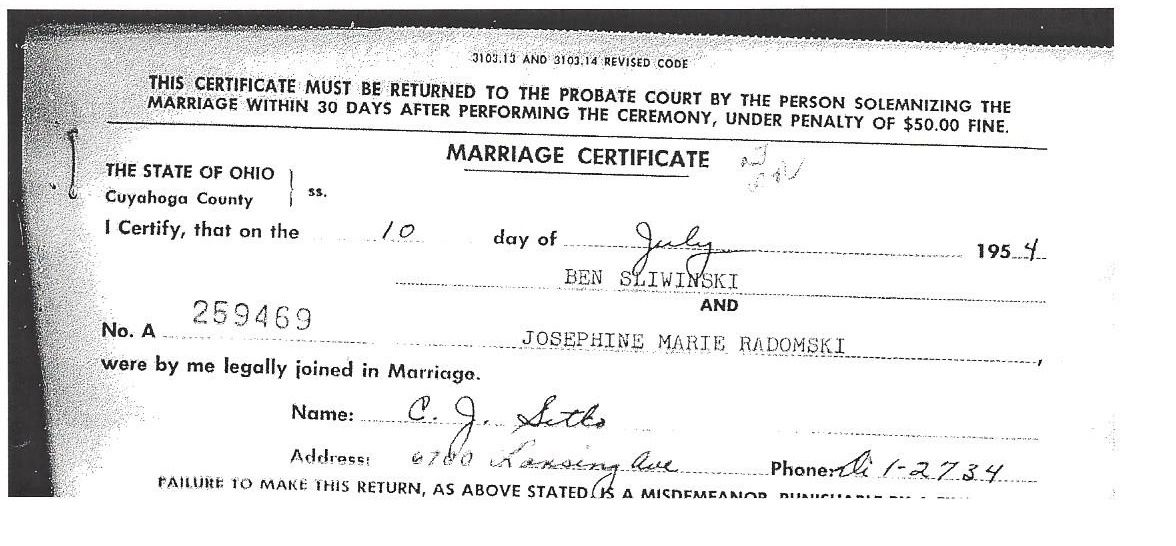 Ben Sliwinski And Josephine Marie Radomski Marriage Certificate