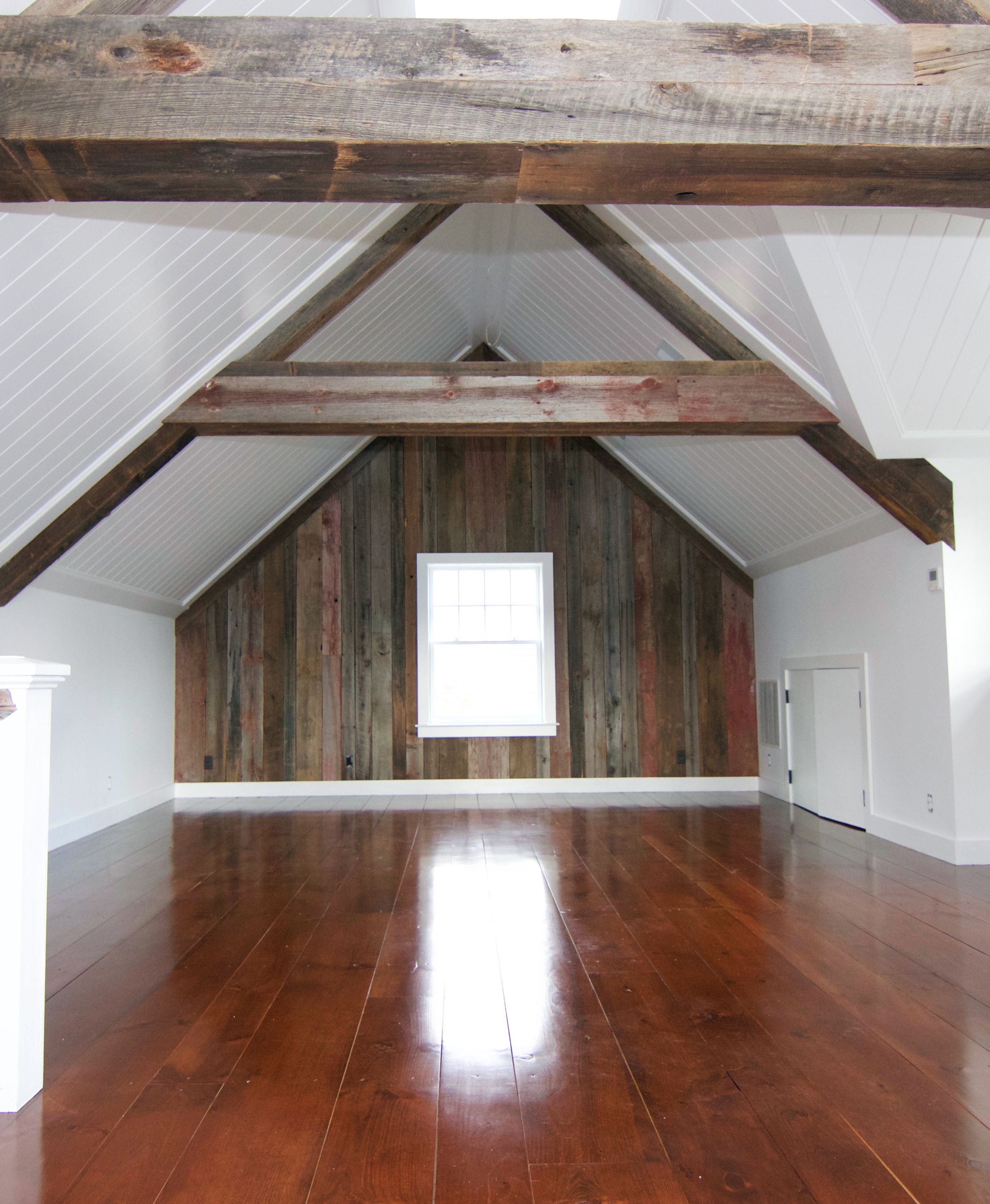 Wide plank Eastern white pine flooring stained with Minwax English
