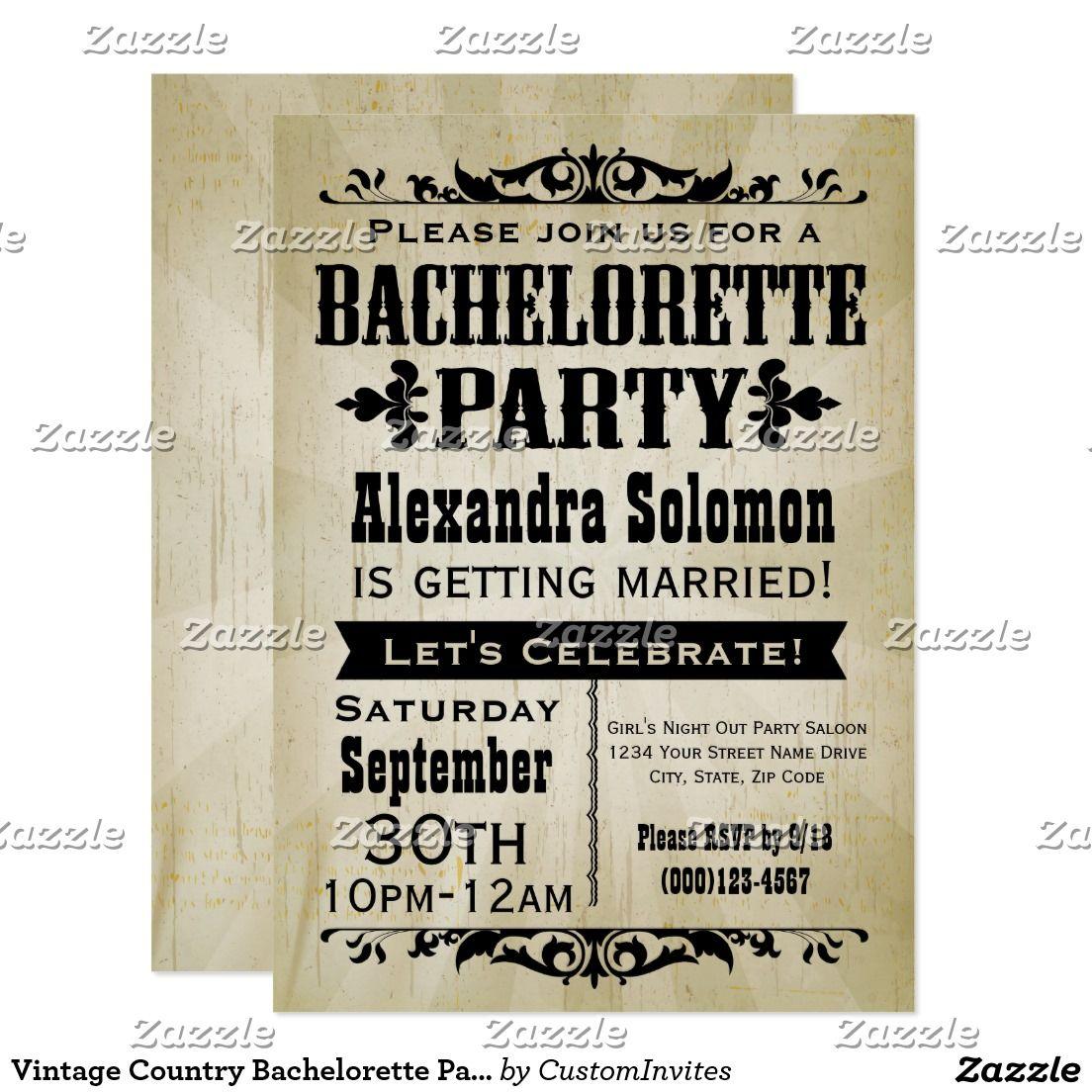 Vintage Country Bachelorette Party Invitation | Bachelorette Party ...