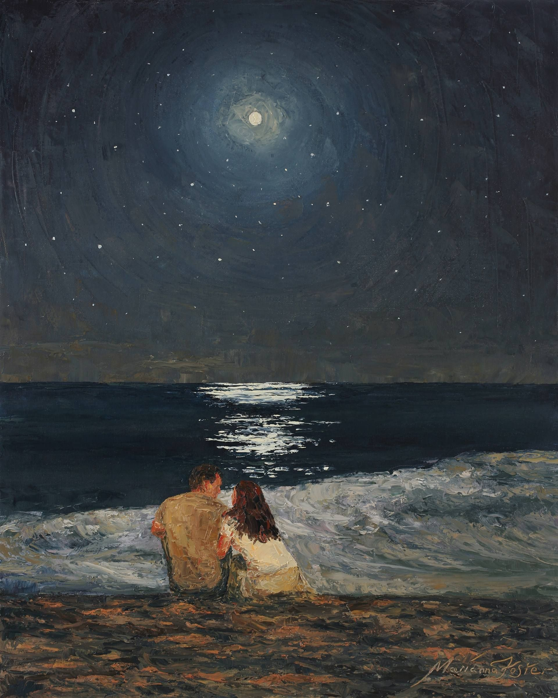 Moonlight Over The Ocean Painting by Marianna Foster | Saatchi Art