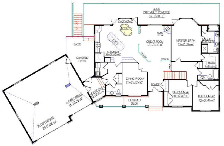 Garage Layout W Deck Floor Plans Ranch Garage Floor Plans