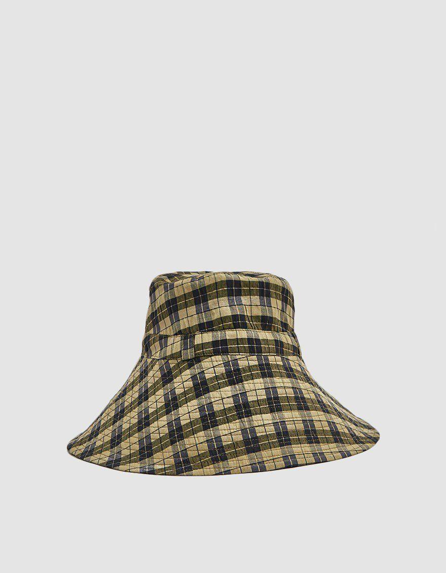 9f9bca2292683 GANNI   Seersucker Check Hat in Aloe in 2019