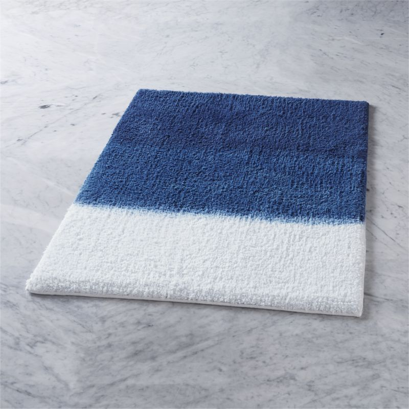 Shop Ombre Blue Bath Mat Hand Dip Dyed By Artisans In India This