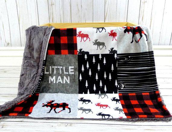 Moose Baby Blanket Buffalo Plaid Blanket Faux Quilt Little Etsy Buffalo Plaid Blanket Blanket Buffalo Check Baby