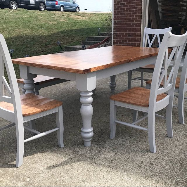 Inachev farmhouse dining table jambes pieds de bois - Relooking salle a manger rustique ...