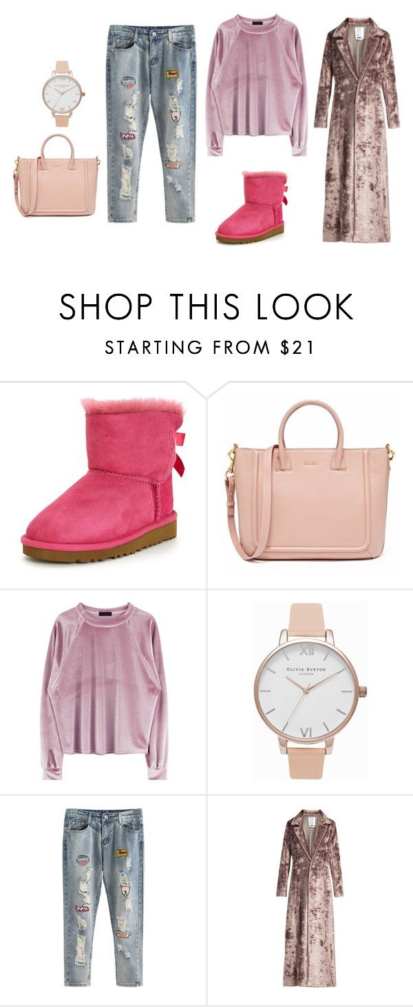 """""""Velvet"""" by angel28290826 ❤ liked on Polyvore featuring UGG, Olivia Burton and Rosie Assoulin"""