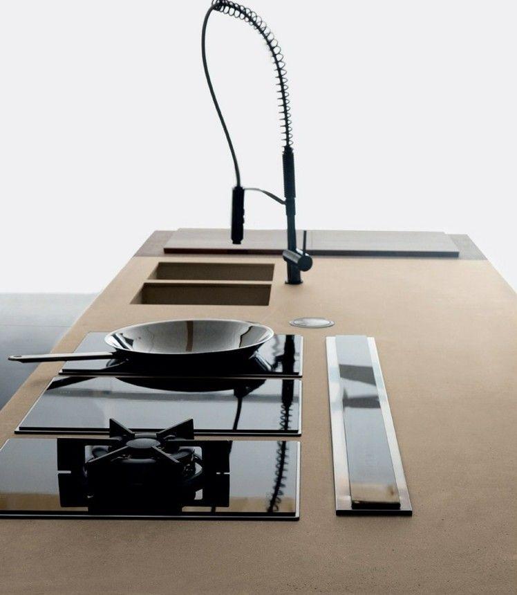 kochinsel mit doppelter sp lle und drei arten von kochplatten k che pinterest. Black Bedroom Furniture Sets. Home Design Ideas