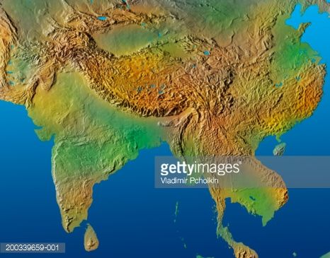 Topographical Map Of Asia Stock Photo Getty Images Fantasy Maps